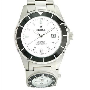 MENS CROTON STEEL AUTOMATIC DUAL TIME DATE WATCH